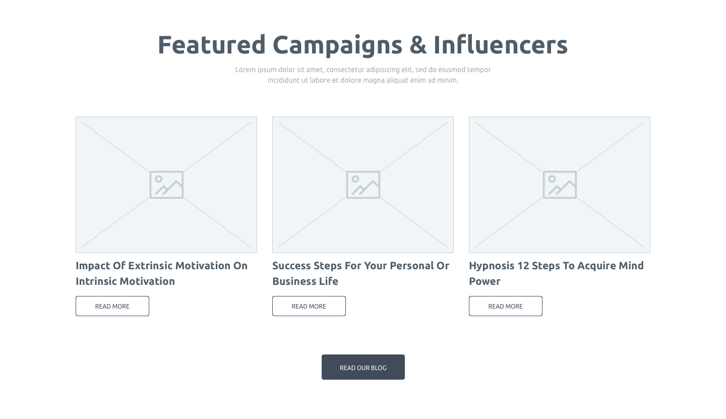 Wireframe and UI research for the featured campaigns and influencers dashboard