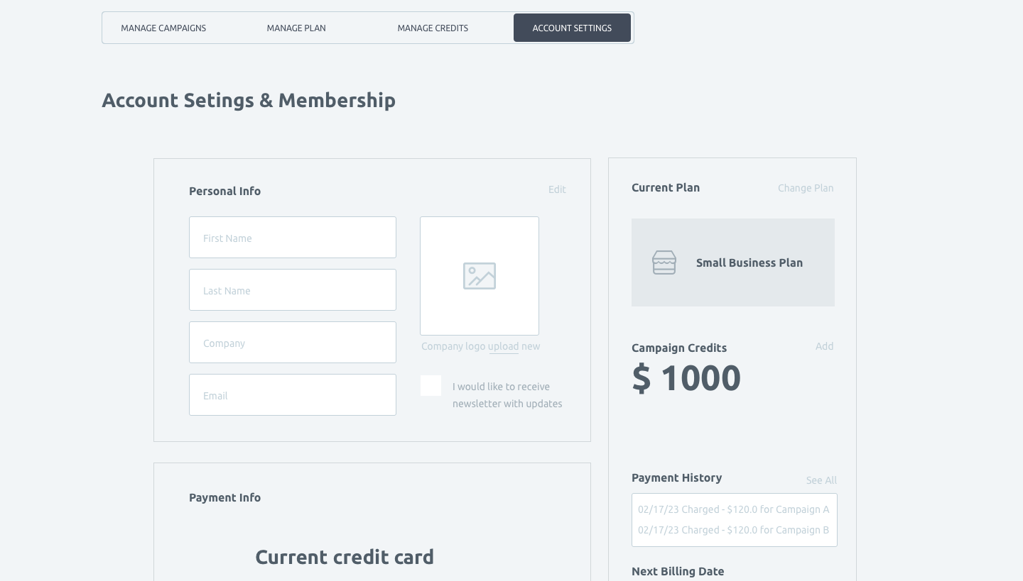 Wireframe and UI for account settings and membership