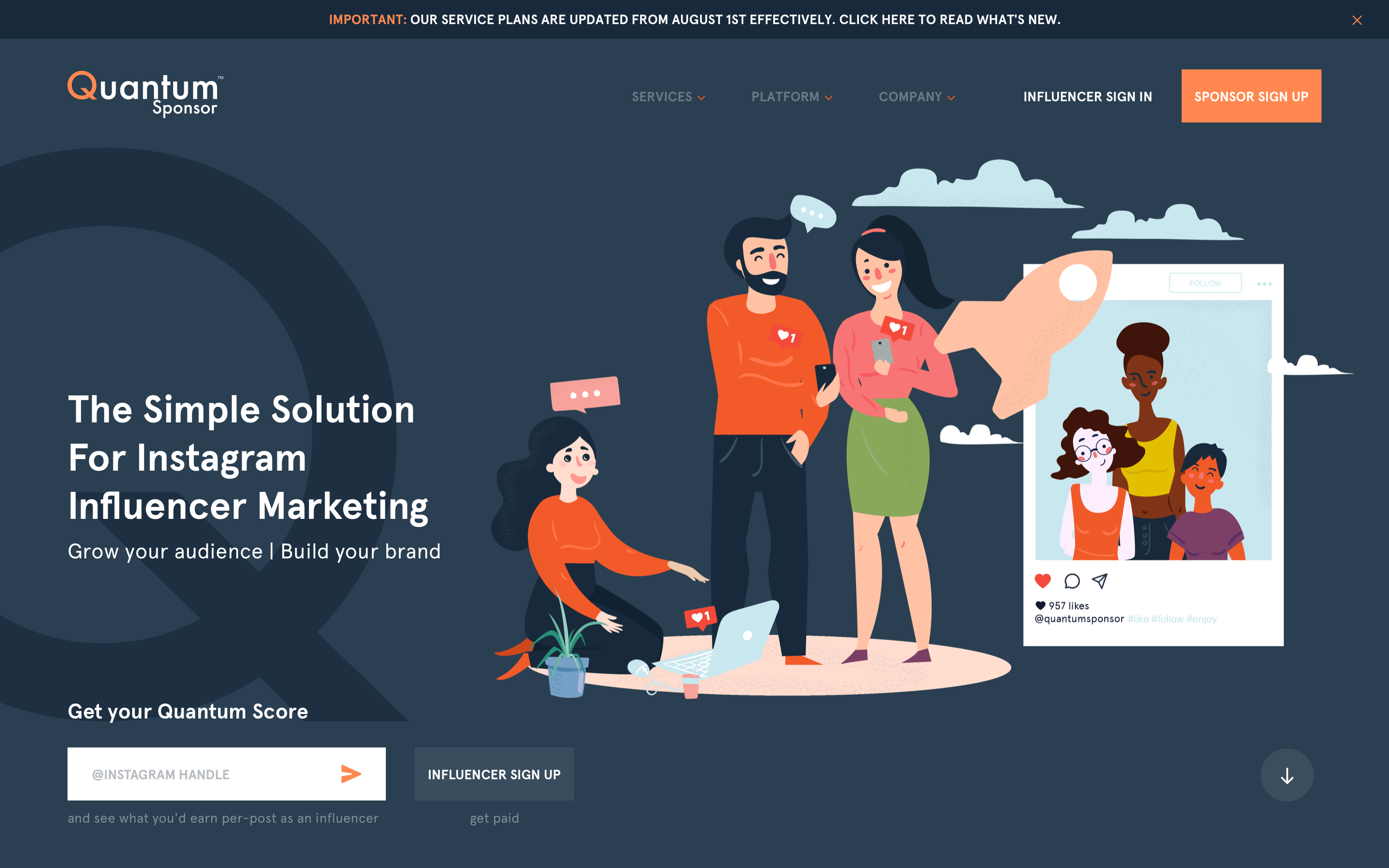 Quantumsponsor home page UX/UI design and custom illustration