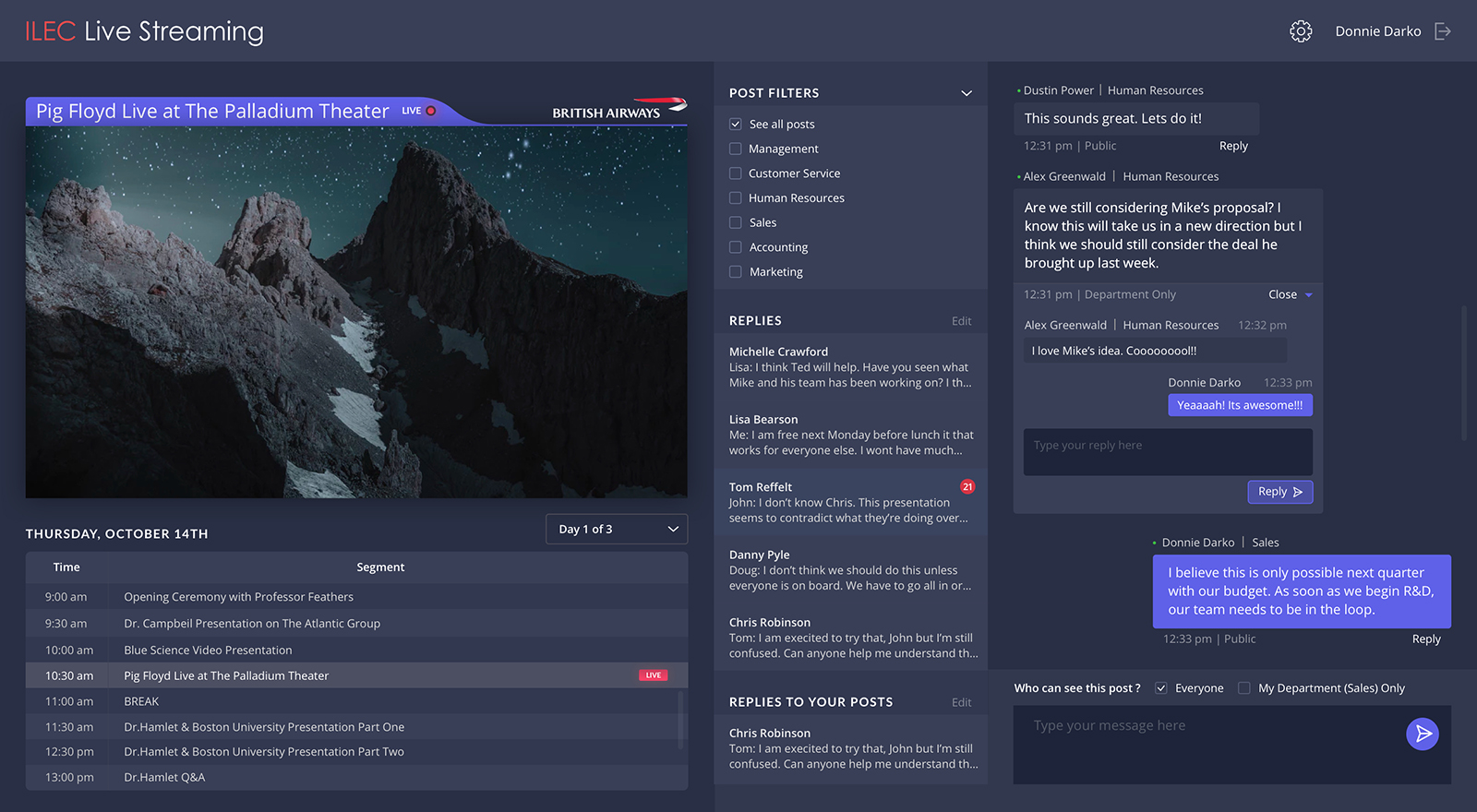 UX/UI design for live streaming app dashboard