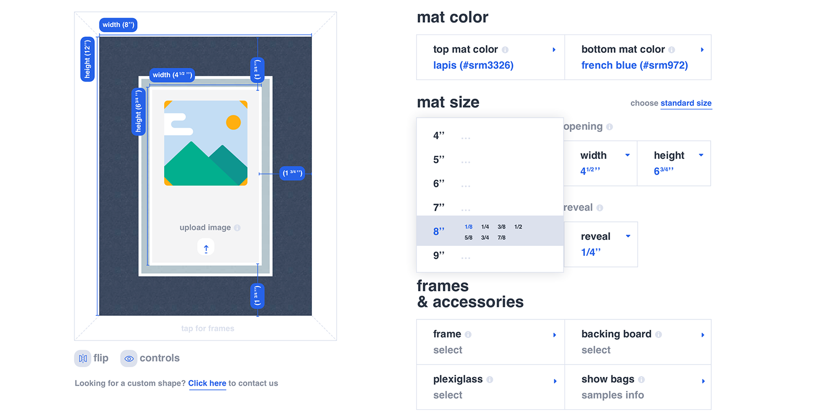 User can select mat color, size, frames and accessories for an ultimate UX