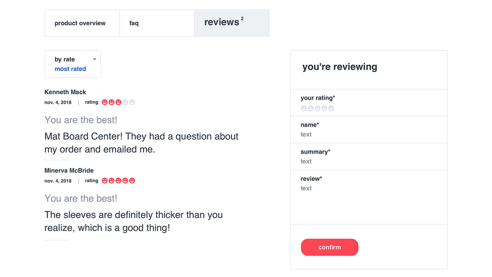 User can leave reviews for every purchased mat board